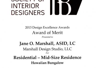ASID Design Excellence Award 2013, Wailuku Bungalow Restoration